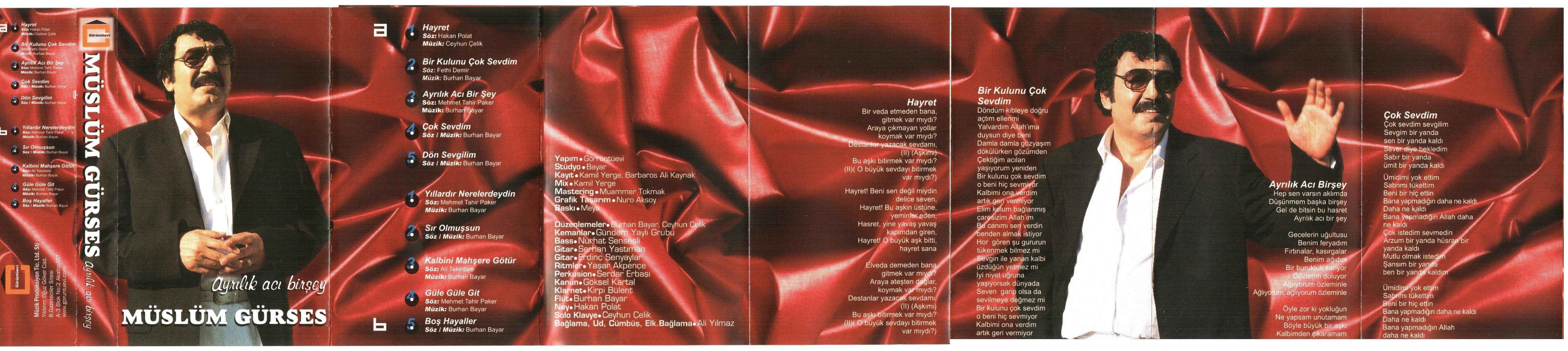 Müslüm Gürses Ayrılık Acı Birşey Albümü albüm kapağı